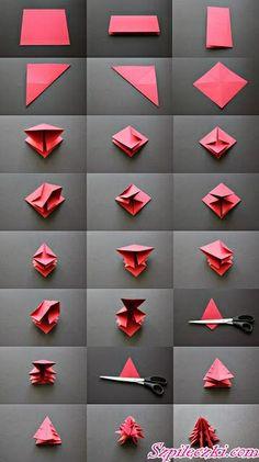 Trendy Ideas For Origami Christmas Decorations Tutorials Diy Crafts Origami Diy, Origami Tree, Origami Christmas Tree, Origami Tutorial, Noel Christmas, Christmas Ornaments, Origami Hard, Origami Ornaments, Origami Templates