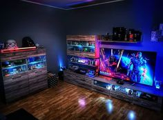 Check Out Full Collection ------------------------- Link In Bio / Free Shipping World Wide ------------------------- 50% Discount… Computer Gaming Room, Gaming Room Setup, Computer Setup, Nerd Room, Gamer Room, Video Game Rooms, Video Games, Game Room Design, Game Room Decor