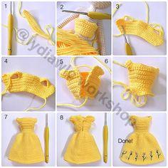 Vestitino per bambola - Dress for doll   IT: Buona domenica a tutti! Qualche giorno fa mi è capitato di vedere in rete questo tutorial  p...