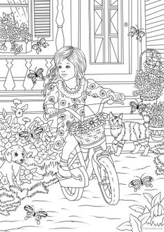 Little country girl on bicycle coloring page