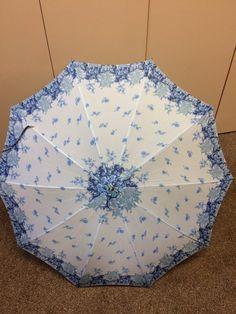 Vintage Ladies Umbrella, Carved Wood Handle, Blue and White Floral Parasol,Floral, Rain Gear, Metal Tip Umbrella, Photo Prop, Theater Prop