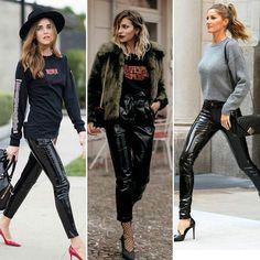Muito usada pelos streetsyles, o vinil é um tecido mais ousado, rígido e brilhoso, comparado ao couro, mas dá aquela cara fashion para qualquer look. Veja algumas composições com a calça vinil preta... #moddazoficial #dica #moda #vinil #modaazlovers #look #calcavinil #fashion #itgirls