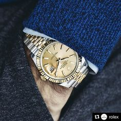 #Repost @rolex with @repostapp ・・・ @rogerfederer wearing the new Rolex Datejust 41 in 904L steel and 18 ct yellow gold with a champagne dial and a Jubilee bracelet. #Rolex #Datejust #101031