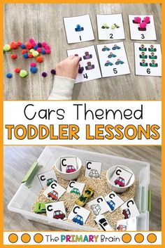 Cars themed toddler sensory bins and toddler math activities are great for keeping little hands busy! These car themed lesson plans keep busy toddlers engaged for hours! This Toddler School Unit includes five lesson plans filled with hands-on toddler activities that are designed for a 2-3 year old child. Learn about the letter C, counting within 10, and build fine and gross motor skills in your toddler.