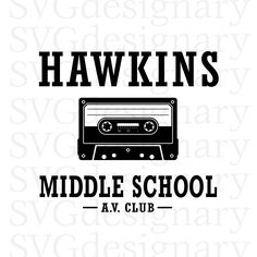 Excited to share the latest addition to my #etsy shop: Hawkins Middle School A.V. Club (Stranger Things TV Show) Black SVG PNG Download