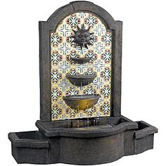 @Overstock - Twelve streams of water trickle down the three tiered bowls this Nerites fountain making for wonderful water sounds. This traditional tile motif honors the sun on a Granada inspired background.http://www.overstock.com/Home-Garden/Nerites-Outdoor-Floor-Fountain/6537282/product.html?CID=214117 $380.99