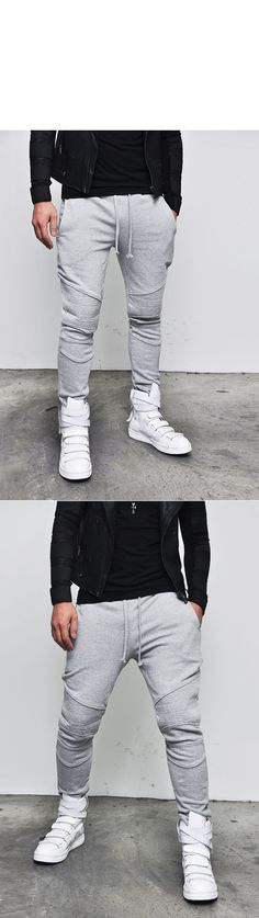 Seaming Detailed Mens Runway Biker Jersey Black Gray Gym Sweatpants by Guylook Sweatpants Style, Mens Jogger Pants, Sweatpants Outfit, Fashion Sweatpants, Jogger Outfit, Fashion Pants, Mens Fashion, Attractive Guys, Dressing Rooms