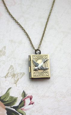 A Flying Swallow Librarian Book Locket Necklace
