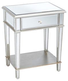 Roosevelt+Mirrored+Nightstand,+Silver 28H 22W 16D