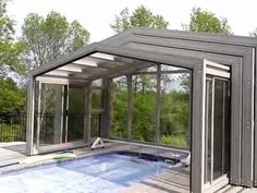 """Telescoping retracting Swimming Pool Enclosures from """"Covers in Play """" automatically open effortlessly"""