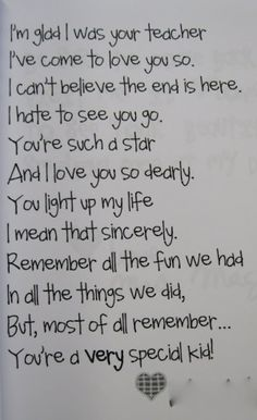 Catalina o thought you might like this!!!   End of the year poem!