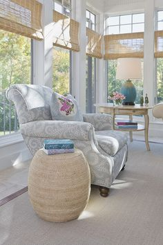 traditional porch by Lucy Interior Design - love the chair and blinds -