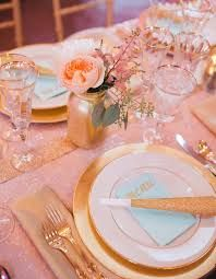 pink and gold table setting - Google Search