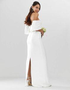 28ae0d4dce9 Asos EDITION crepe off shoulder wedding column dress  crepe EDITION Asos