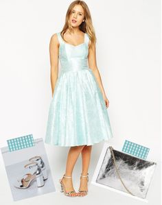 Asos Eisblau ice blue dress with silver sandals and purse