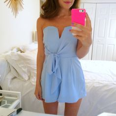 Light blue tie-front romper
