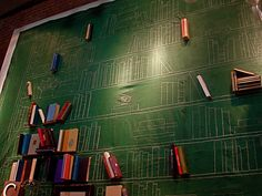 Neat idea to make a faux library out of a chalk accent wall