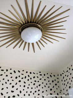 DIY ceiling mounted sunburst light.