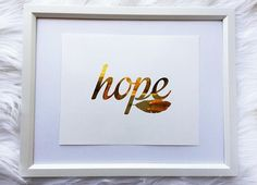 Hope gold foil print rose gold foil print home decor wall