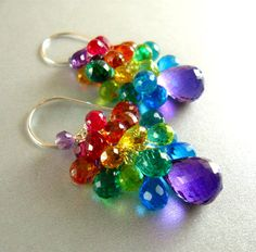 Colorful Amethyst Quartz and Topaz Sterling Cluster by SurfAndSand, $159.00