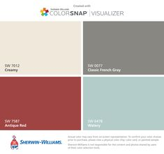 I found these colors with ColorSnap® Visualizer for iPhone by Sherwin-Williams: Creamy (SW 7012), Antique Red (SW 7587), Classic French Gray (SW 0077), Watery (SW 6478).