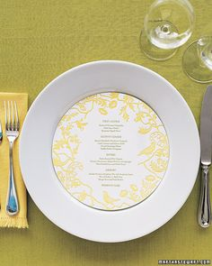Yellow round menu