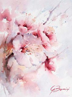Pink Azalea Flower Dream Laptop & iPad Skin by anitabellajantz Watercolor Art Lessons, Watercolor Artists, Abstract Watercolor, Watercolor Illustration, Watercolour Painting, Pour Painting, Painting Videos, Painting Metal, Watercolors