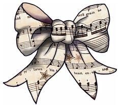 ArtbyJean - Vintage Sheet Music: Set 003 - Vintage Sheet Music Free Clipart Biege Tan - Ribbons and Bows