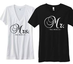 """Cute Couple Shirts """"Mrs."""" and """"Mr.""""- Est. 09.05.14 - Custom date Wedding Shirts for Bride and Groom on Etsy, $39.49"""