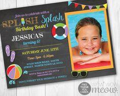 Pool Party Invitation Splish Splash Birthday Bash Invite