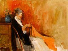 """Mujer tejiendo punto"" ""Woman Knitting""      -      Óleo sobre madera     -     Martin Driscoll  (1939 - 2011) Pintor contemporáneo de Irlanda."