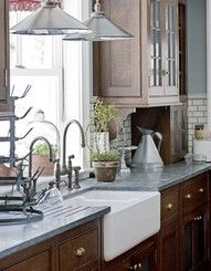 Luscious kitchens - mylusciouslife.com - arm sink, honed granite, corbels