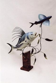 Roosterfish and Flyingfish carving by Ron Bailey Carving, Fish, Animals, Animales, Animaux, Wood Carvings, Sculpting, Cut Work, Animal