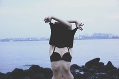 beautiful, girl, pale, photography, thin, bra, sea, cloudy, cute, indie, sexy, landscape, skinny, nature, ribs, photo