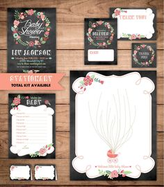 Rustic Chalkboard Baby Shower Invitation Coral Mint Green