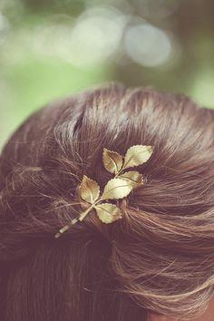 Gold Leaf Hair Bobby Pins Leaf Bobby Pins Boho by EchoandLaurel