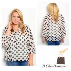 Plus Size Polk Dot Top Casual yet elegant plus size polka dot blouse. Made of chiffon material. Can be paired with jeans, a skirt or leggings. The top is sheer. Pair it with your favorite Cami or tank. Bchic Tops Blouses