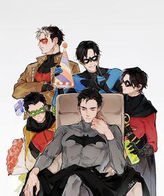 Happy Birthday Bruce. Batfamily. Batman, Red Hood, Nightwing, Red Robin, and Robin.
