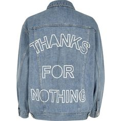 River Island Light blue slogan back print denim jacket (€105) ❤ liked on Polyvore featuring outerwear, jackets, blue, coats / jackets, women, blue jackets, blue denim jacket, tall denim jacket, flap jacket and jean jacket