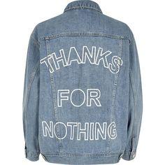 River Island Light blue slogan back print denim jacket (295 RON) ❤ liked on Polyvore featuring outerwear, jackets, denim, blue, coats / jackets, women, tall jackets, light blue jacket, light blue denim jacket and denim jacket