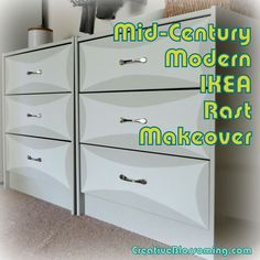 DIY IKEA Rast dresser makeover mid-century modern bow-tie gray white entryway foyer storage painted furniture