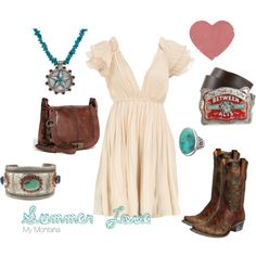 What a lovely thing...  Summer love outfit by MontanaSilversmiths via Polyvore