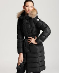 Moncler Genevrier Cinched Long Down Coat with Fur | Bloomingdale's