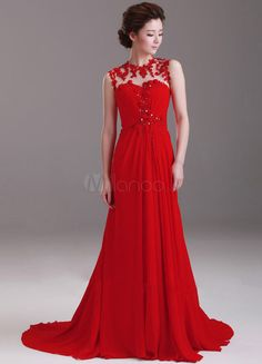 Ball Gown Red Chiffon Lace High Collar Sweep Prom Dress - Free shipping for all