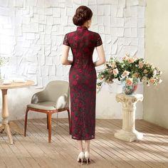 Long length Lace Fabric Cheongsam Qipao Chinese dress C0072-A Details 04