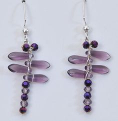 Purple Mini Dragonfly Earrings by Originalsbydenise on Etsy, $15.00