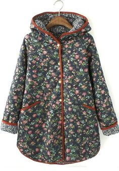 ++ multicolor floral long sleeve cotton blend padded coat