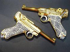 Luger Pistol, Gun Art, Steel Art, Custom Guns, Secret Rooms, Fantasy Armor, Cool Guns, Old West, Cannon