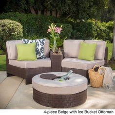 Madras Ibiza Outdoor Wicker Sectional Set with Ottoman by Christopher Knight Home