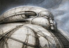 """'DUNE' House Harkonnen Concept Art by H. Giger, Director Alejandro Jodorowsky attempted to create a big-screen adaptation of Frank Herbert's science fiction novel """"Dune."""" created incredible concept art for the film, at that time. Hr Giger, Giger Alien, Giger Art, Dune Film, Jodorowsky's Dune, Pink Floyd, Frank Herbert, Jean Giraud, Xenomorph"""